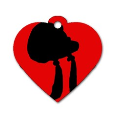 Red and black abstraction Dog Tag Heart (One Side)