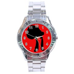 Red and black abstraction Stainless Steel Analogue Watch