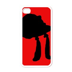 Red and black abstraction Apple iPhone 4 Case (White)