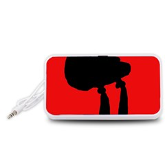 Red and black abstraction Portable Speaker (White)