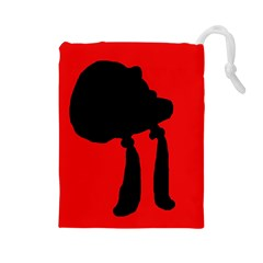 Red and black abstraction Drawstring Pouches (Large)