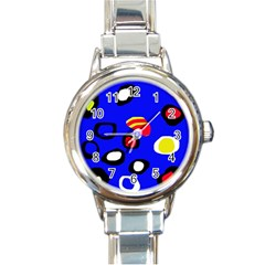 Blue pattern abstraction Round Italian Charm Watch
