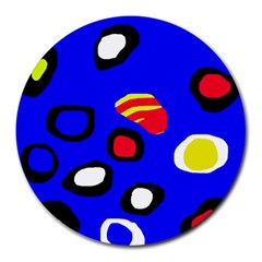 Blue pattern abstraction Round Mousepads