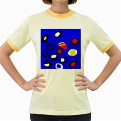 Blue pattern abstraction Women s Fitted Ringer T-Shirts