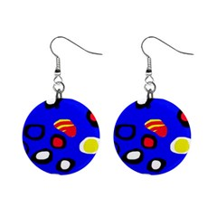 Blue pattern abstraction Mini Button Earrings
