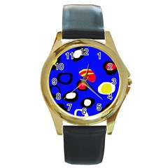 Blue pattern abstraction Round Gold Metal Watch