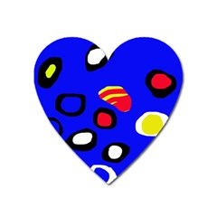 Blue pattern abstraction Heart Magnet