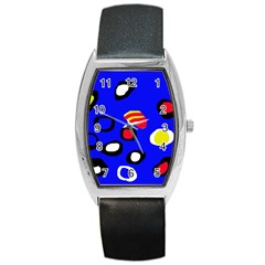 Blue pattern abstraction Barrel Style Metal Watch
