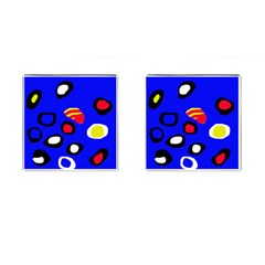 Blue pattern abstraction Cufflinks (Square)