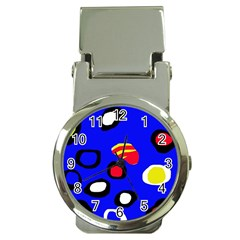 Blue pattern abstraction Money Clip Watches