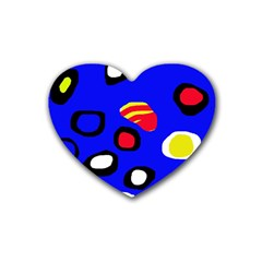 Blue pattern abstraction Rubber Coaster (Heart)