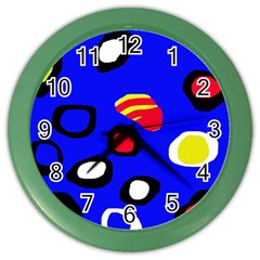 Blue pattern abstraction Color Wall Clocks