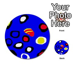 Blue pattern abstraction Multi-purpose Cards (Round)