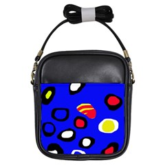 Blue pattern abstraction Girls Sling Bags