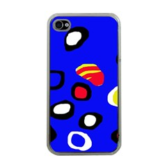 Blue pattern abstraction Apple iPhone 4 Case (Clear)
