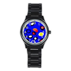 Blue pattern abstraction Stainless Steel Round Watch