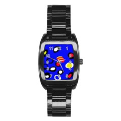 Blue pattern abstraction Stainless Steel Barrel Watch