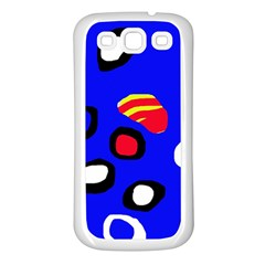 Blue pattern abstraction Samsung Galaxy S3 Back Case (White)