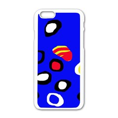 Blue pattern abstraction Apple iPhone 6/6S White Enamel Case