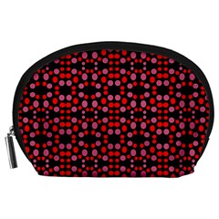 Dots Pattern Red Accessory Pouches (Large)