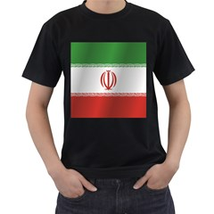 Flag Of Iran Men s T-Shirt (Black) (Two Sided)