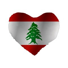 Flag Of Lebanon Standard 16  Premium Flano Heart Shape Cushions