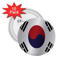 Flag Of South Korea 2.25  Buttons (10 pack)