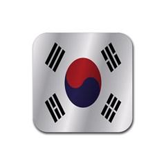 Flag Of South Korea Rubber Coaster (Square)