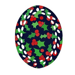 Holly Jolly Christmas Oval Filigree Ornament (2-Side)