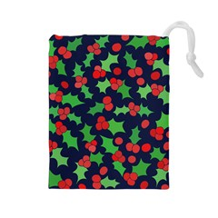 Holly Jolly Christmas Drawstring Pouches (Large)