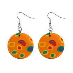 Orange abstraction Mini Button Earrings