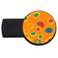 Orange abstraction USB Flash Drive Round (1 GB)