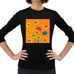 Orange abstraction Women s Long Sleeve Dark T-Shirts