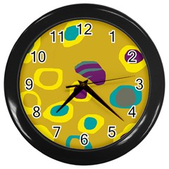 Yellow abstraction Wall Clocks (Black)