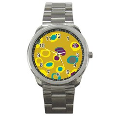 Yellow abstraction Sport Metal Watch
