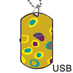Yellow Abstraction Dog Tag Usb Flash (one Side)