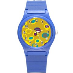 Yellow abstraction Round Plastic Sport Watch (S)