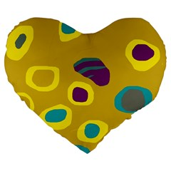 Yellow abstraction Large 19  Premium Heart Shape Cushions