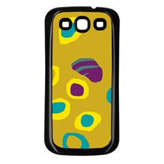 Yellow abstraction Samsung Galaxy S3 Back Case (Black)