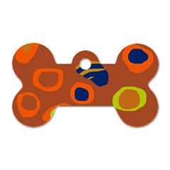 Orange abstraction Dog Tag Bone (Two Sides)