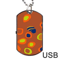Orange abstraction Dog Tag USB Flash (Two Sides)