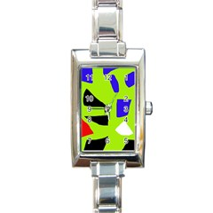 Green abstraction Rectangle Italian Charm Watch