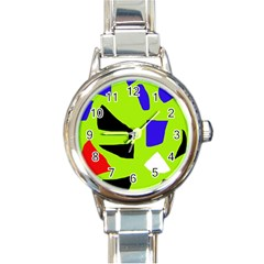 Green abstraction Round Italian Charm Watch