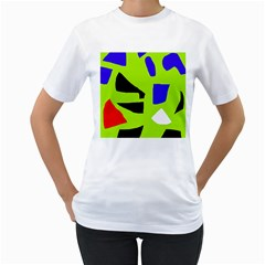 Green abstraction Women s T-Shirt (White) (Two Sided)