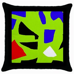 Green abstraction Throw Pillow Case (Black)