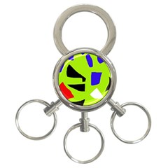 Green abstraction 3-Ring Key Chains
