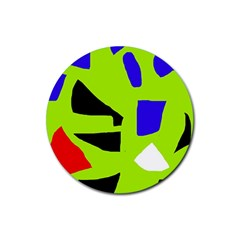 Green abstraction Rubber Coaster (Round)
