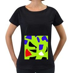 Green abstraction Women s Loose-Fit T-Shirt (Black)