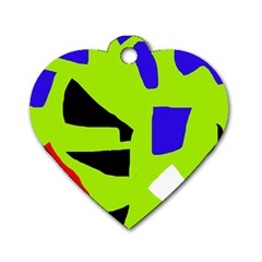 Green abstraction Dog Tag Heart (Two Sides)