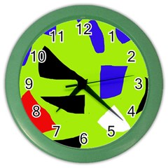 Green abstraction Color Wall Clocks